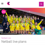 Telstra Netball live plans $2.99 per week, $12.99 per month, $29.99 per year Deal Image