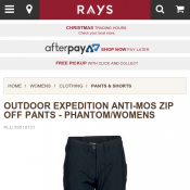 OUTDOOR EXPEDITION ANTI-MOS ZIP OFF PANTS - $49 @Rays Deal Image