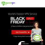 Pure VPN 80% OFF 2 years of VPN service $2.04 (RRP $10) Deal Image