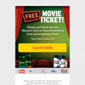 Buy 2 Nature's Own or Cenovis Products, get free movie ticket Deal Image