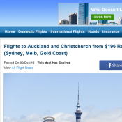 Flights to Auckland and Christchurch from $196 Return (Sydney, Melb, Gold Coast) Deal Image