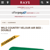 WILD COUNTRY VELOUR AIR BED - DOUBLE $19 @Raysoutdoors Deal Image