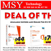 MSY Technology Deals MS Office 365 $70, Optical Gaming Mouse $39, 2 TB  External Hard Disc $99 Deal Image