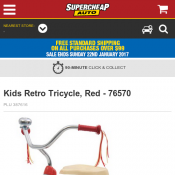 Kids Retro Tricycle, Red $59 (was $99) @Supercheapauto