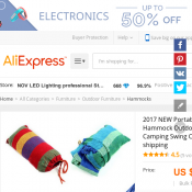 Portable 200 x 80cm Hammock FOR $16 @ AliExpress Deal Image