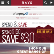 Spend $150, Save $30 With Code @Raysoutdoors Deal Image