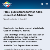 FREE public transport for Adele concert at Adelaide Oval on Monday 13 March Deal Image