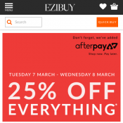 25% OFF Everything with code @Ezibuy Deal Image