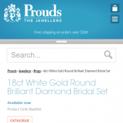 18ct White Gold Round Brilliant Diamond Bridal Set $2,999 (RRP  $4,999) @Prouds