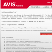 3rd Weekend Day Free @AVIS Australia Deal Image
