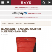 BLACKWOLF SAMURAI CAMPER SLEEPING BAG $79 (RRP $159) @Raysoutdoors Deal Image