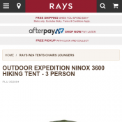 OUTDOOR EXPEDITION NINOX 3600 HIKING TENT - 3 PERSON $199 (RRP $399) Deal Image