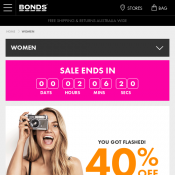 40% OFF Everything- Underwear, clothing, bras and socks @Bonds