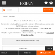BUY 2 AND SAVE 30% @Ezibuy Deal Image