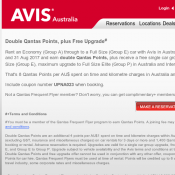 Double Qantas Points, plus Free Upgrade @AVIS Australia Deal Image