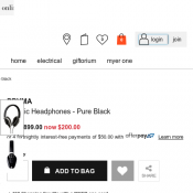 PRYMA Classic Headphones - Pure Black was $899.00 now $200.00 @ Myer