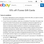 15% off iTunes Gift Cards @Ebay Deal Image