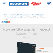 Microsoft Office Mac 2011 Home & Business - 1 User FOR $39 Deal Image