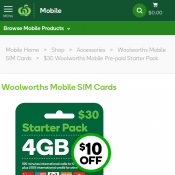 $30 Woolworths Mobile Pre-paid Starter Pack (RRP $40) Deal Image