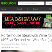 Porterhouse Steak with Wine for Two $49 or 4 People $95 at Second Act Wine Bar (Up to $180 Value) Deal Image