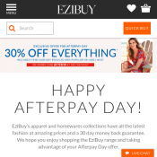 30% OFF Everything for Afterpayday with code  Deal Image