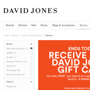 Spend $150 on full priced beauty and receive $20 David Jones Gift Card  Deal Image