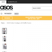 ASOS Cotton Cardigan with Waffle Texture FOR $12 Deal Image