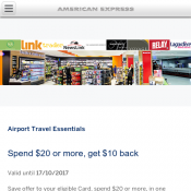 Airport Travel Essentials  Spend $20 or more, get $10 back by American Express Deal Image