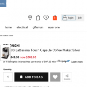 DELONGHI Lattissima Touch Capsule Coffee Maker:Silver was $649.00 now $389.00 Deal Image