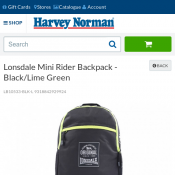 Lonsdale Mini Rider Backpack - Black/Lime Green $15 Deal Image
