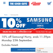 10% OFF Samsung Products with Code @The Good Guys Deal Image
