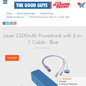 Laser 2200mAh Powerbank with 3-in-1 Cable FOR $7 Deal Image