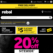 20% OFF Sitewide With Code This Weekend Only @Rebel Deal Image