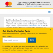 Enter coupon code MASTERAU12 to enjoy an additional 12% off hotel bookings Deal Image