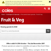 Fresh Specials Of The Week from Coles Offers valid: Fri 27th October - Thu 2nd November 2017 Deal Image
