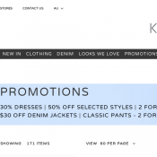 30% DRESSES | 50% OFF SELECTED STYLES | 2 FOR $60 SKIRTS & SHORTS  $30 OFF DENIM JACKETS Deal Image