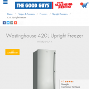 Westinghouse 420L Upright Freezer $1500 (RRP $1649) @The Good Guys Deal Image
