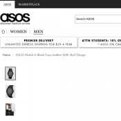 ASOS Watch In Black Faux Leather With Skull Design $21.50 FREE shipping Deal Image