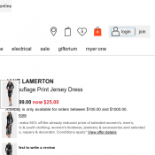 JANE LAMERTON Camouflage Print Jersey Dress was $99.00 now $25.00 Deal Image