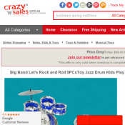Big Band Let's Rock and Roll 9PCsToy Jazz Drum Kids Play Set Deal Image