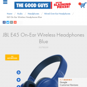 JBL E45 On-Ear Wireless Headphones Blue $99 Deal Image