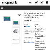Apple Macbook Air 13 inch 2017 MQD32xx/A (Silver, 128GB, RAM 8GB) AU$999 Deal Image