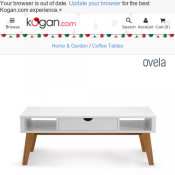 Ovela Coffee Table - Finse Collection (White) $99 @ Kogan Deal Image