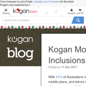 Kogan Mobile Increase Data Inclusions - Small plan: 1.5GB → 2 GB | Large plan: 11GB → 16GB  Deal Image