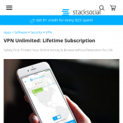 StackSocial - VPN Unlimited Lifetime Subscription $23.98AUD (Extra 40% off code)! Valued $665.99 Deal Image