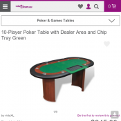 10-Player Poker Table with Dealer Area and Chip Tray Green Deal Image