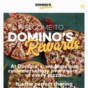 Domino's Rewards - Free Pizza when you earn 90 points (10 points per $10 spend) Deal Image