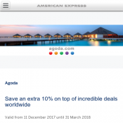 Save an extra 10% on top of incredible deals worldwide AMEX @Agoda Deal Image