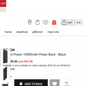 Belkin Pocket Power 10000mAh Power Bank @ MYER Deal Image