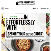 Aussie Farmers Direct - $25 Off First Order - Minimum Spend $50 (code)! First Orders Only Deal Image